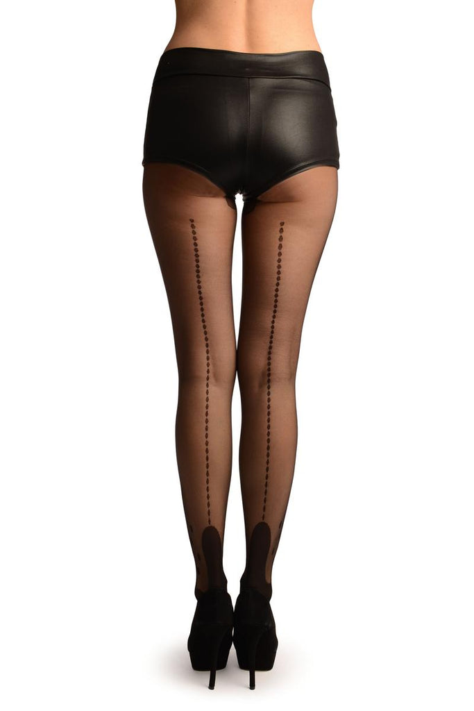 Black With Dotted Seam & Ankles Tights