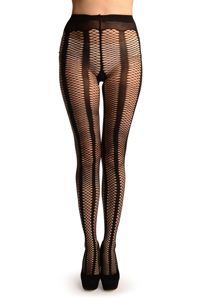 Black Sick Mesh Fishnet With Black Stripes Tights