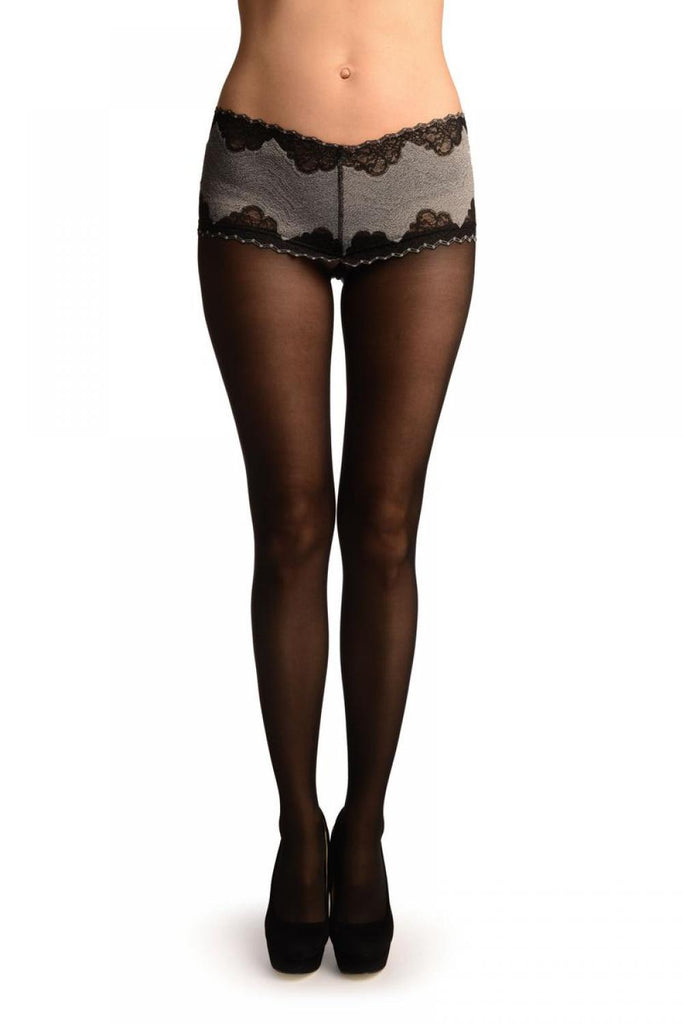 Black With Wide Silicon Lace Panty Top Tights