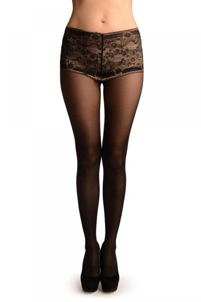 Black With Wide Silicon Floral Lace Panty Top Tights