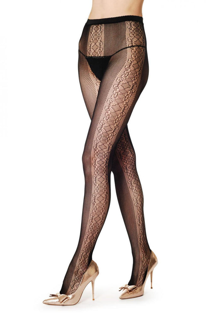 Black Fishnet With Lace Stripes On the Sides