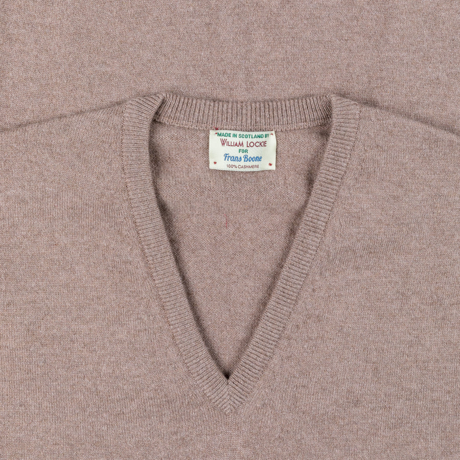 William Lockie Oxton Cashmere V-Neck Dormouse