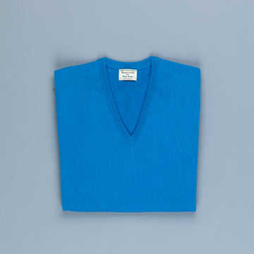 William Lockie Oxton Cashmere V-Neck Airforce