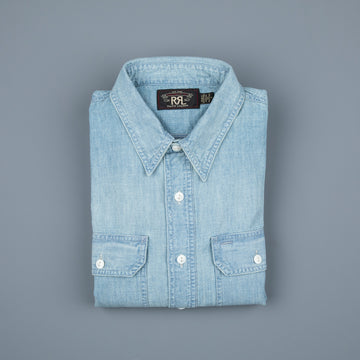 RRL Illinois West Long Sleeve Sport Shirt Medium Wash Chambray
