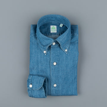 Finamore Tokyo Shirt Lucio Collar washed blue denim medium weight