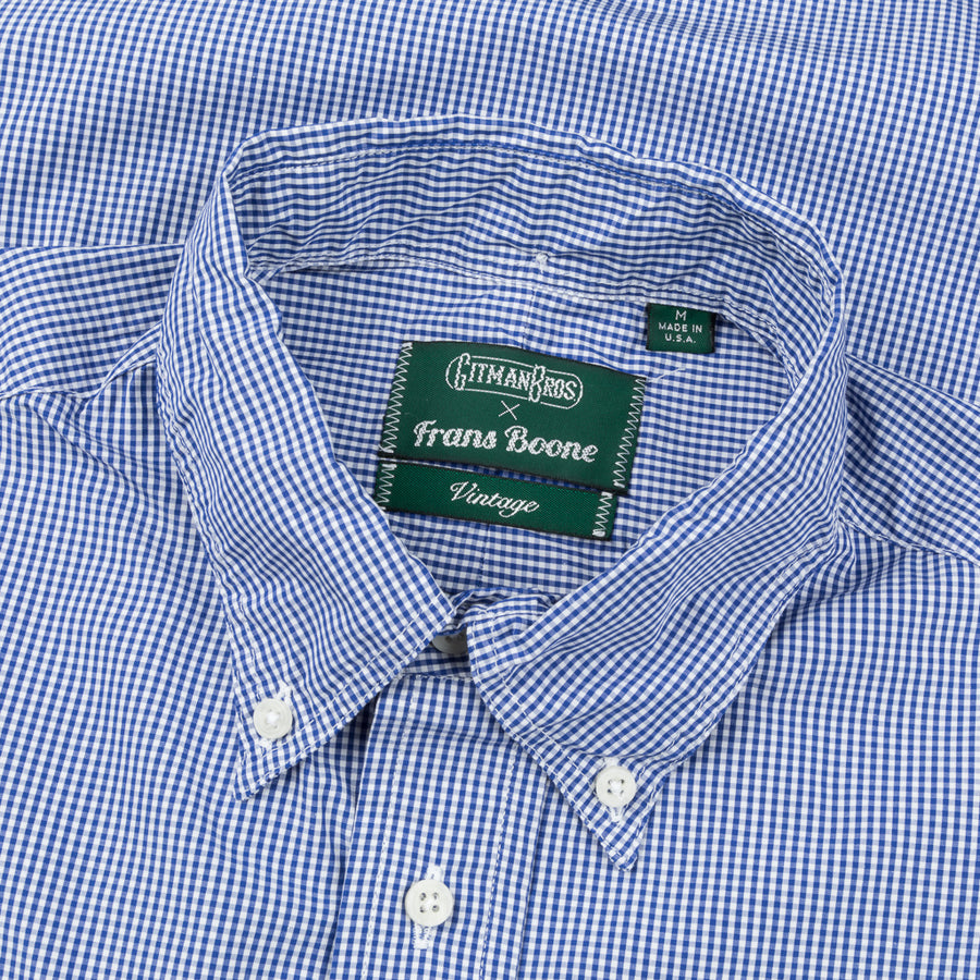 Gitman Vintage x Frans Boone Japanese woven vichy medium Blue