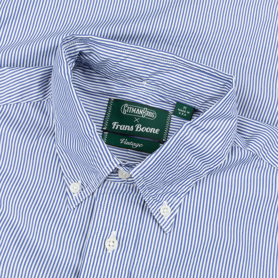 Gitman Vintage x Frans Boone Japanese woven stripe medium Blue