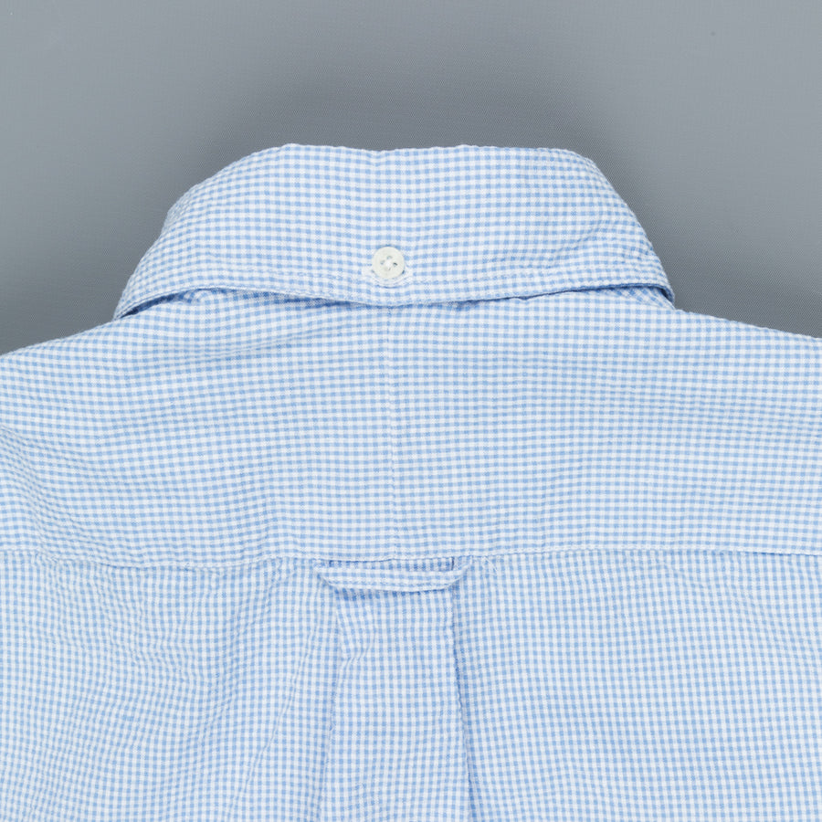Gitman Vintage x Frans Boone Japanese woven vichy seersucker light blue