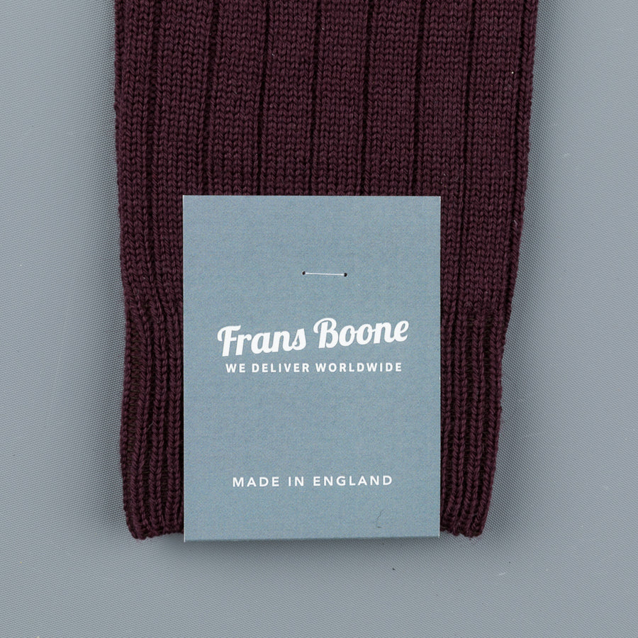 Frans Boone x Pantherella Packington Merino Wool Socks Maroon