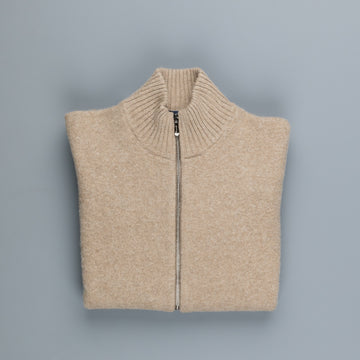 Drumohr Full Zip Merino Wool Sweater Mastice
