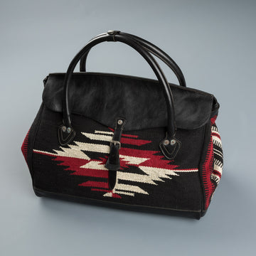 RRL Pecos Duffle Bag Handwoven Jacquard and Leather Bag