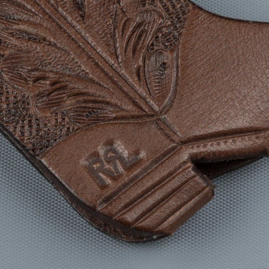 RRL Keyfob Hand Tooled Leather Brown