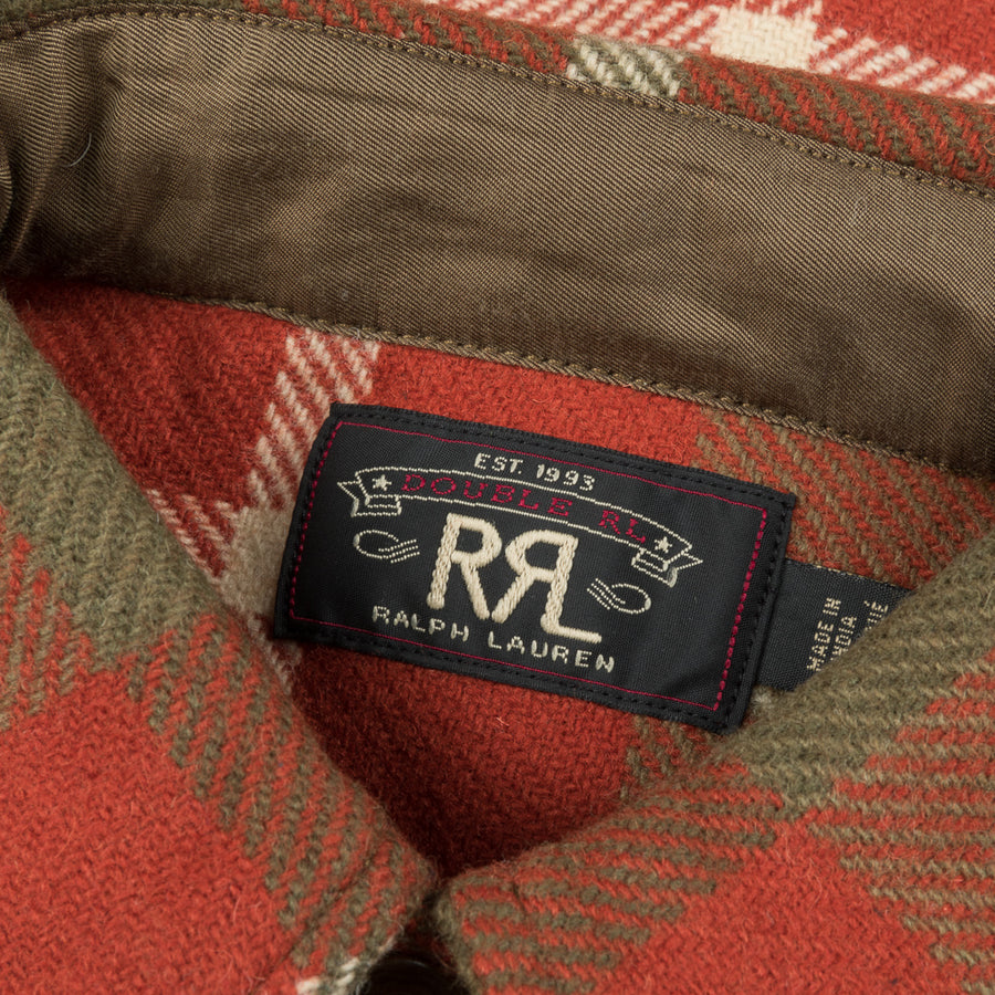 RRL Melton Wool Plaid Shirt Red and Tan