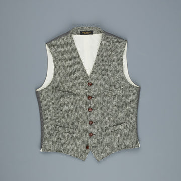 RRL Classic Harris Tweed Waistcoat Herringbone Cream Black