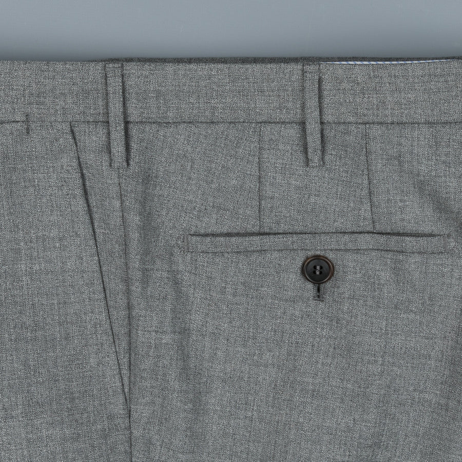 Rota Pantaloni High Rise Regular Fit Hopsack Grigio Medio