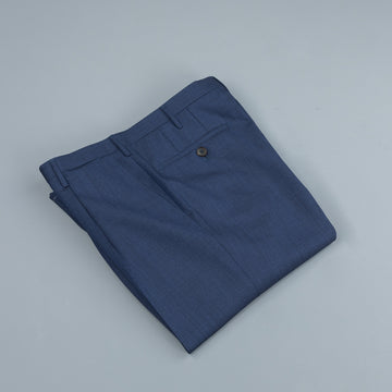 Rota Pantaloni High Rise Regular Fit Hopsack Blu Navy Melange