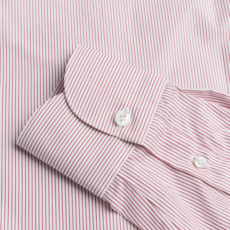 Finamore Milano Shirt Eduardo Collar Alumo Burgundy Pencil Stripe