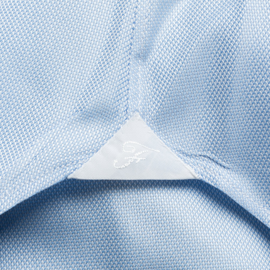 Finamore Napoli Shirt Eduardo Collar Alumo Castella Oxford Light Blue
