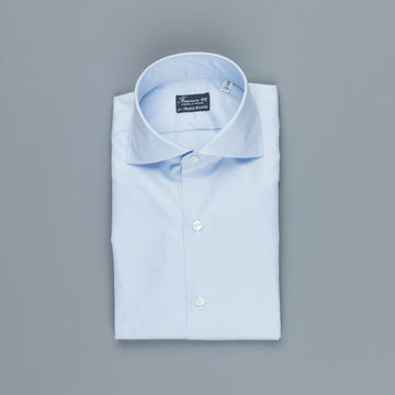 Finamore Milano shirt Eduardo collar Alumo oxford light blue