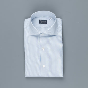 Finamore Milano Shirt Eduardo Collar Alumo Navy Pencil Stripe