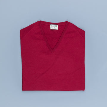 William Lockie x Frans Boone 30 gauge Loro Piana Merino's V-Neck Chianti