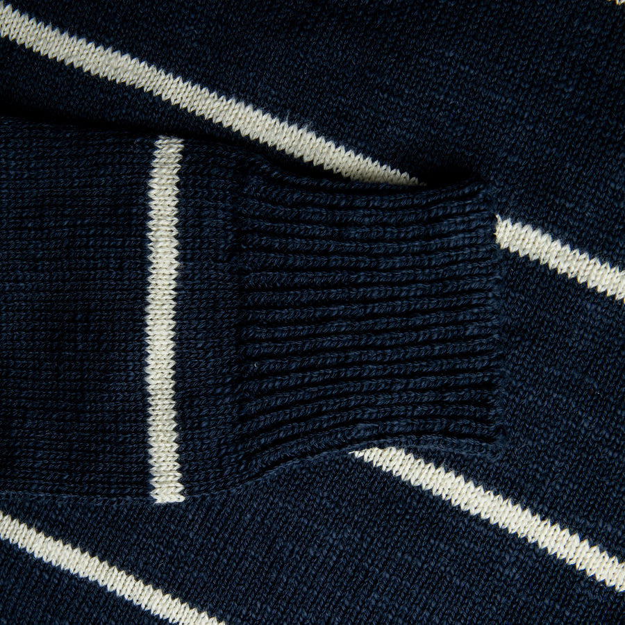 The Real McCoy's Cotton Marine Stripe Sweater Navy