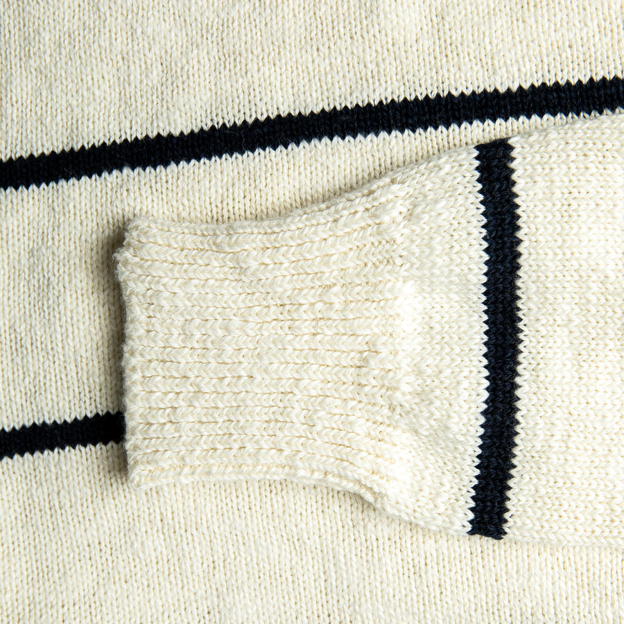 The Real McCoy's Cotton Marine Stripe Sweater White