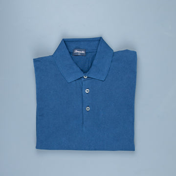 Drumohr Crepe Cotton Polo Faded Navy