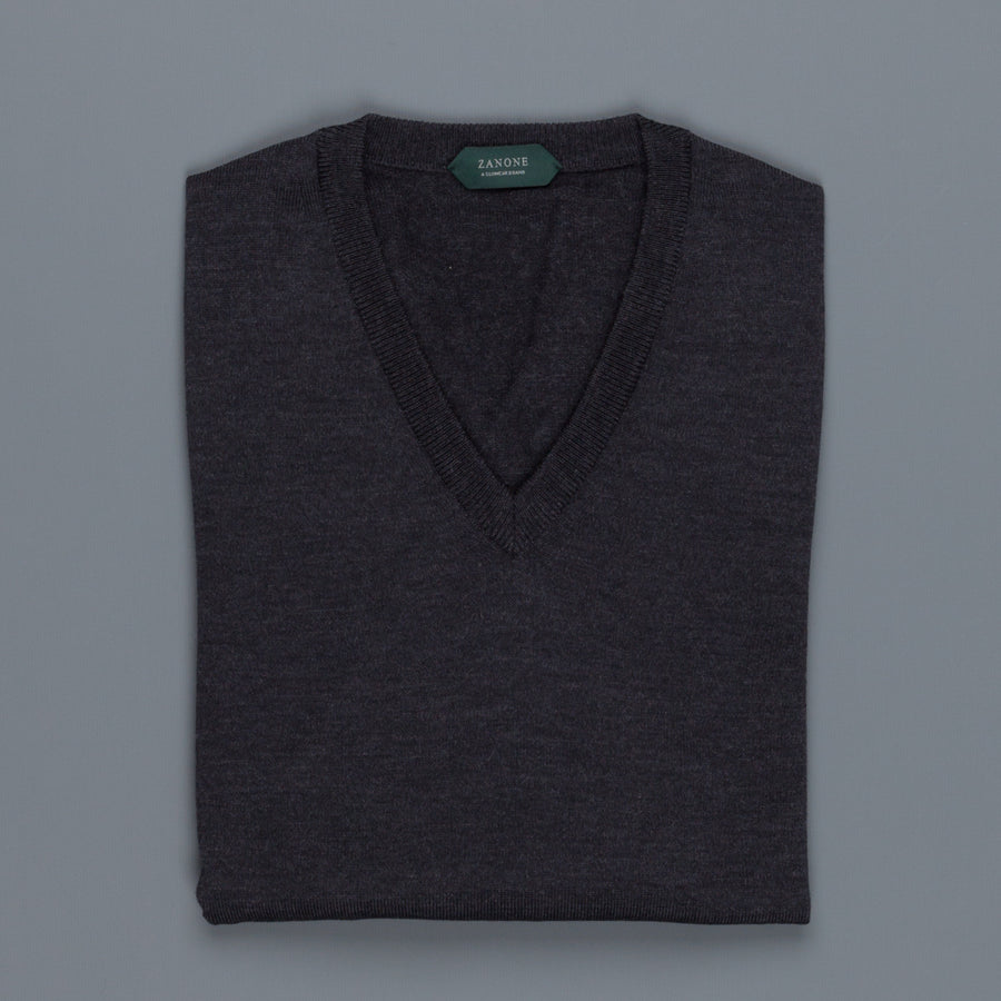 Zanone V neck Merino wool Antracite