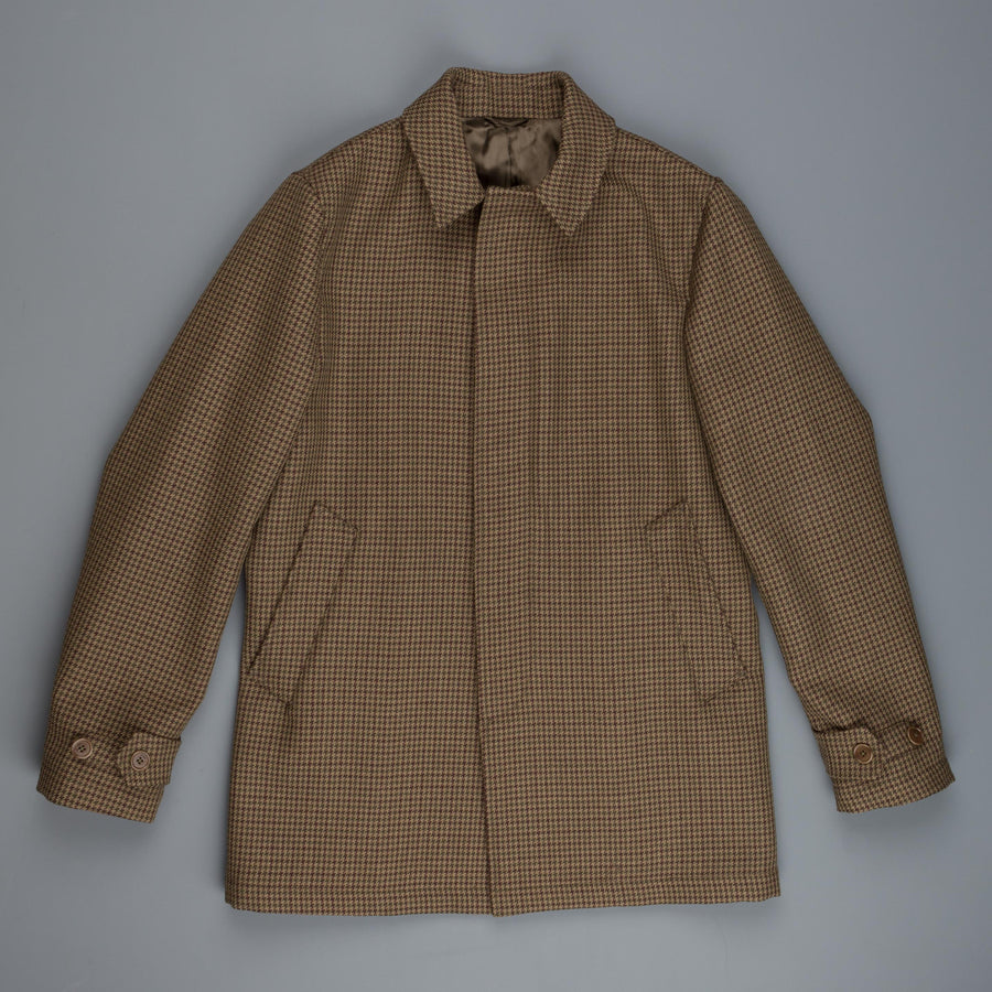 Aspesi Alfie wool car coat olive brown check