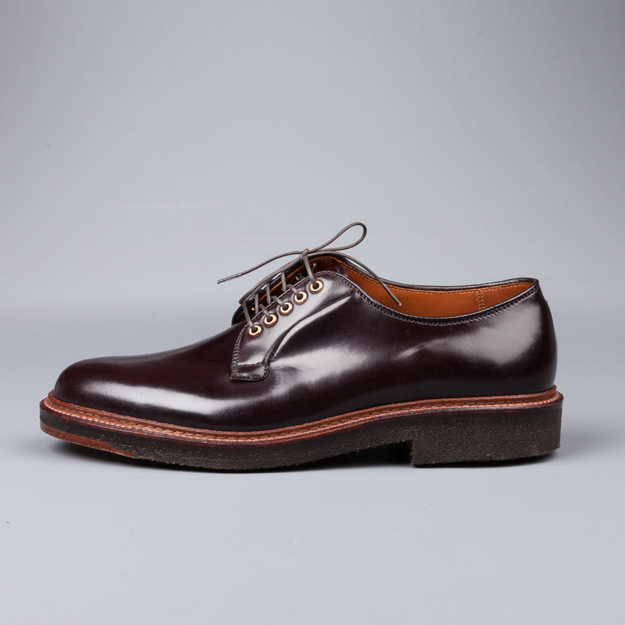 Alden plain toe blucher in #8cordovan on crepe with brass eyes