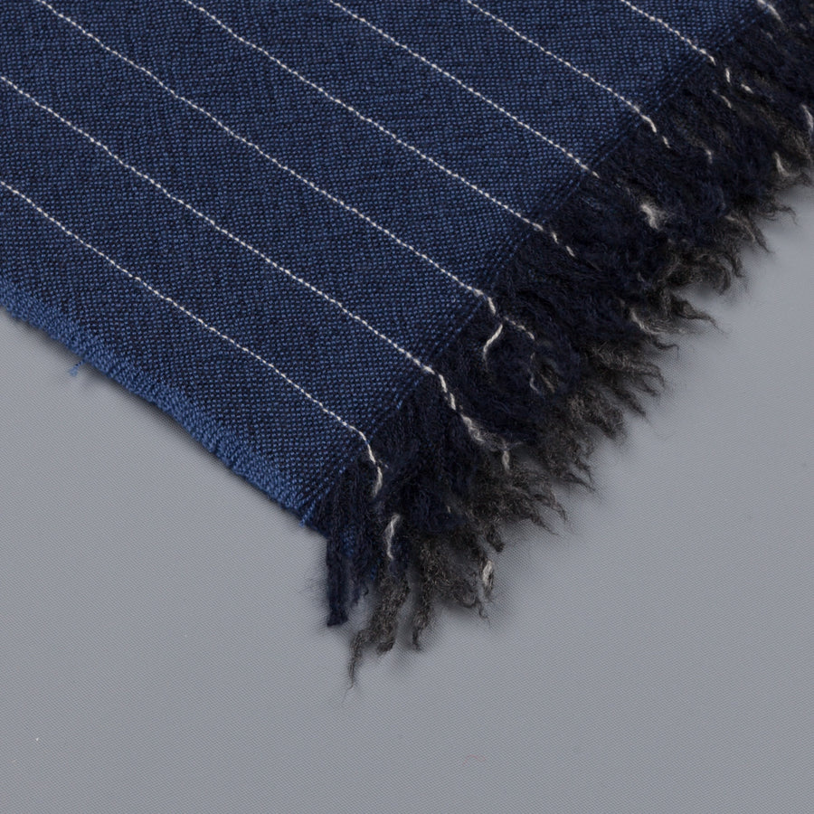 Alex Begg Kishorn scarf 100% woven stole cashmere Soho in Charcoal Denim