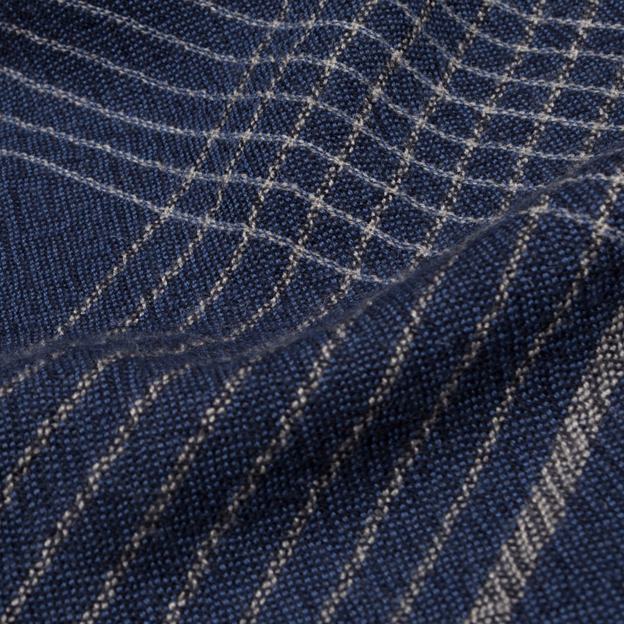 Alex Begg Kishorn scarf 100% woven stole cashmere Pin Check in Navy Blue