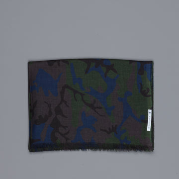 Alex Begg Wispy woven stole cashmere Printed Camo in Midnight