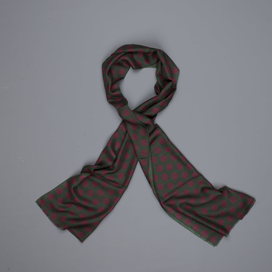 Alex Begg Wispy woven stole cashmere Printed Dixie in Forest/Wine