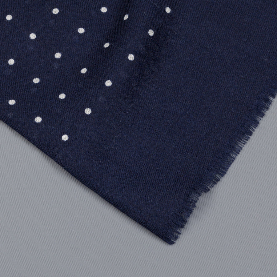 Alex Begg Wispy woven stole cashmere Printed Hanover in Navy/White
