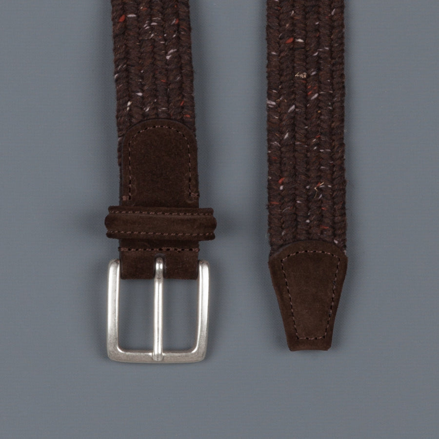 Anderson's intrecciato stretch belt donegal Brown