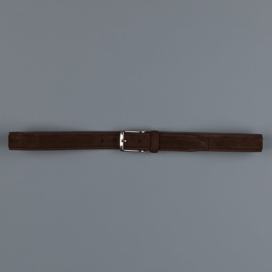 Anderson's calfskin suede belt dark brown