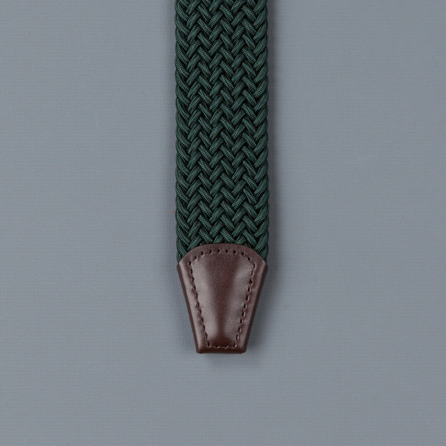 Anderson's intrecciato stretch belt green
