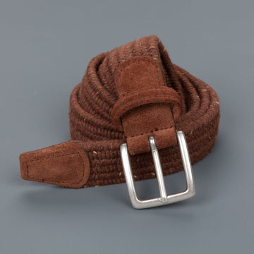 Anderson's intrecciato stretch belt donegal rust