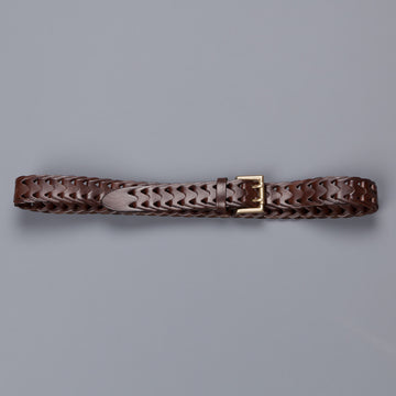 Anderson's intrecciato belt calf leather brown