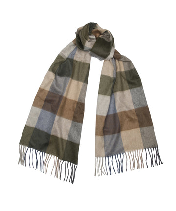 Alex Begg 100% cashmere Arran Hildasay Scarf brown green