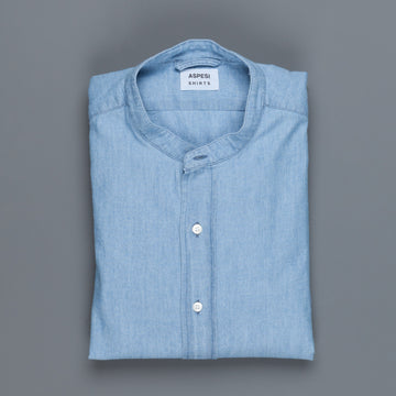 Aspesi Bruce round collar shirt in denim chambray