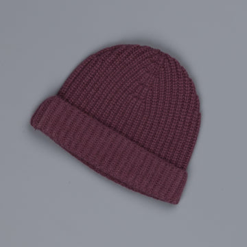 Aspesi Ribbed Cashmere Hat Burgundy
