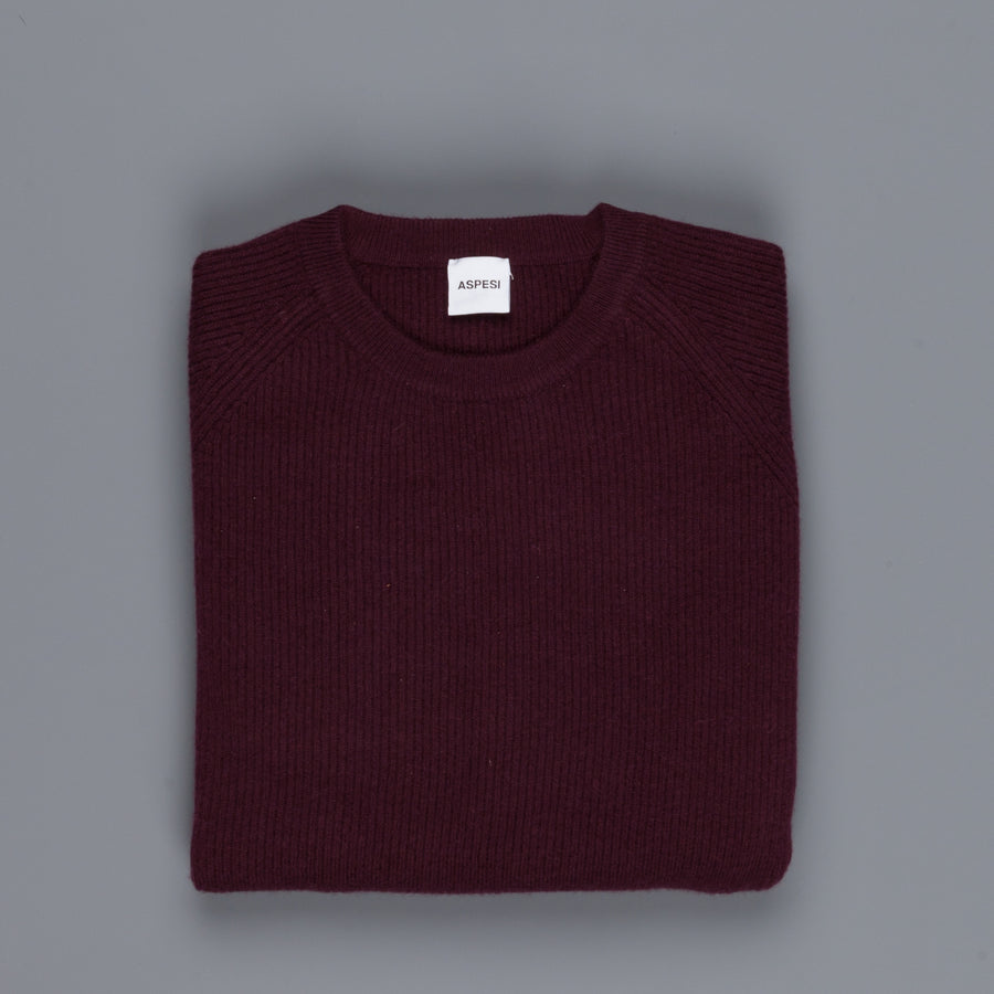 Aspesi Ribbed Cashmere Crew Neck sweater Burgundy