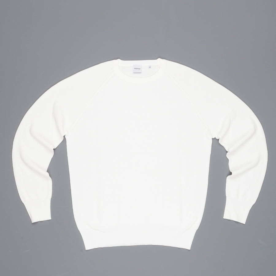 Aspesi Ribbed Cotton Sweater Bianco Ottico