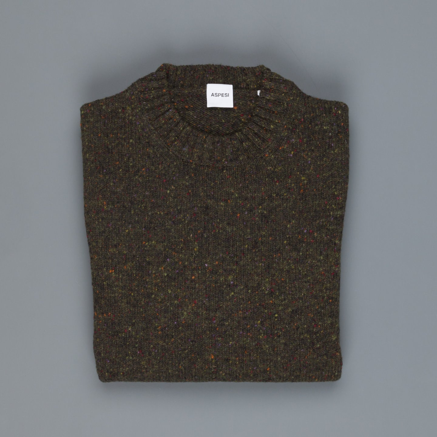 Aspesi Donegal Sweater Crew Model M183 neck dark olive