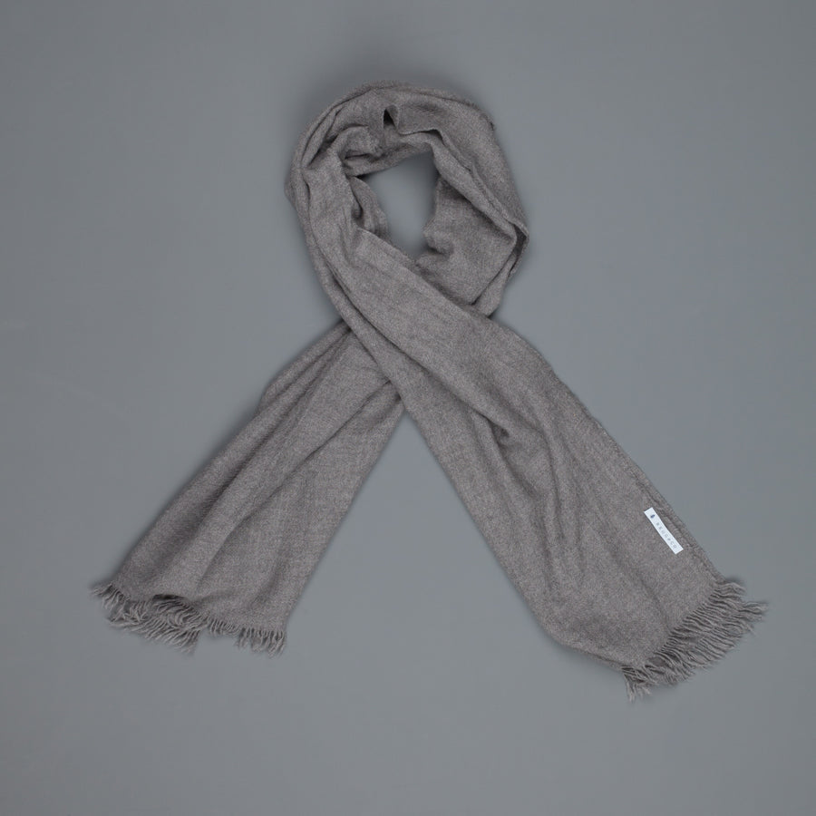 Alex Begg Kishorn scarf 100% washed cashmere Flannel Grey