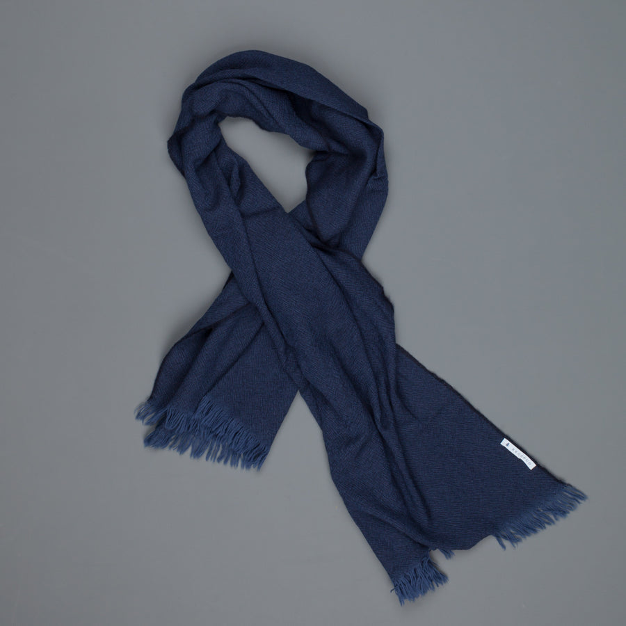 Alex Begg Kishorn scarf 100% washed cashmere Dark Denim