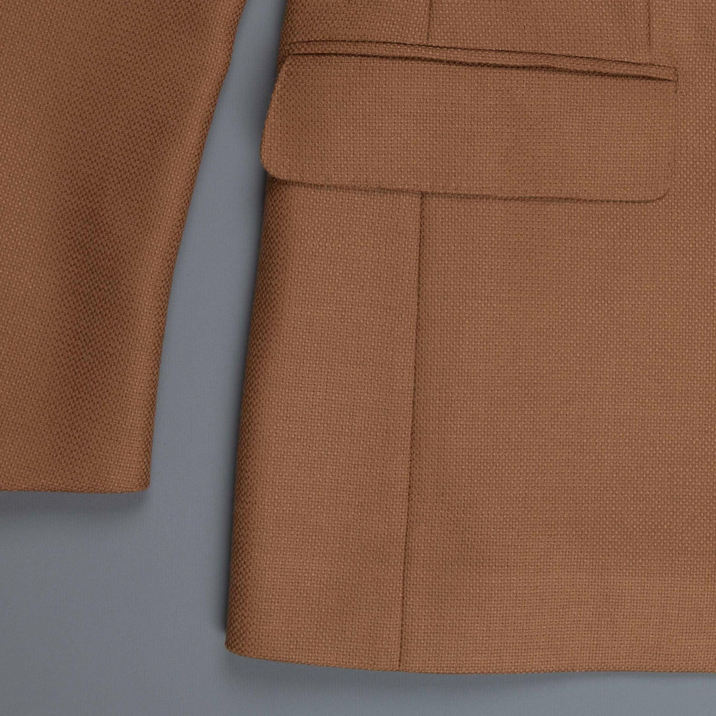 Caruso Nabucco double breasted jacket in camel hopsack wool